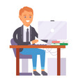 flat people work place business worker vector image vector image