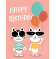 funny cats cartoon birthday card vector image vector image