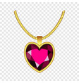 garnet heart icon realistic style vector image