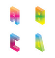 gradient bright isometric letters a b c d in vivid vector image