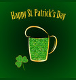 green glitter beer with shamrock happy vector image