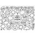 hand drawn speech bubble set vector image