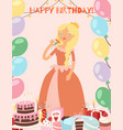 happy birthday princess with cakes sweets and vector image