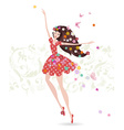 Happy girl with flowers on her head greeting card vector image vector image