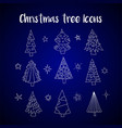 icon set with christmas trees vector image vector image