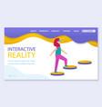 interactive or virtual reality woman playing vector image vector image
