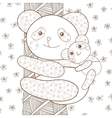 kid coloring book page panda with baby on tree vector image