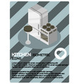 kitchen color isometric poster vector image