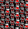 Little red and white robot seamless pattern vector image vector image
