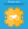 Motorbike icon sign Floral flat design on a blue