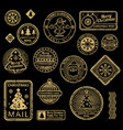 new year and christmas vintage stamps vector image
