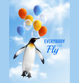 penguin flying by air balloons vector image