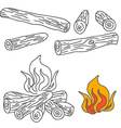 Set of Firewood and Campfire vector image vector image