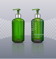 set realistic green transparent bottles with vector image vector image
