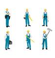 set six builders finishers vector image vector image