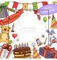 sketch birthday party template vector image vector image