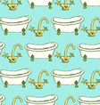 Sketch tap and bathtub in vintage style vector image