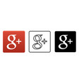 social media icon set for google plus in different vector image vector image