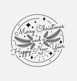 vintage merry christmas and happy new year vector image vector image