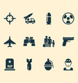 warfare icons set with fighter bomb bio hazard vector image