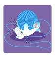 white cat playing with ball yarn vector image