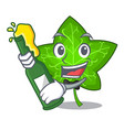 with beer mascot cartoon beautiful ivy leaf plant vector image