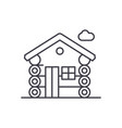 wooden house line icon concept wooden house vector image vector image