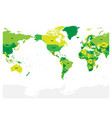 world map in four shades of green on white vector image vector image