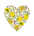 yellow bell peper heart shape wreath half of vector image vector image