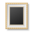 White antique style frame with golden patterns vector image