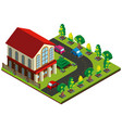 3d design for house and road with cars vector image vector image