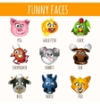 Animal funny faces set of nine character vector image