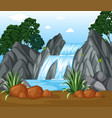 background scene with waterfall in the woods vector image vector image