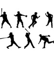 baseball silhouettes collection 6 vector image vector image