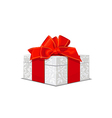 Beautiful white wedding gift box with a red bow vector | Price: 1 Credit (USD $1)