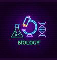 biology neon label vector image