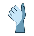 blue shading silhouette of left hand thumb up vector image vector image