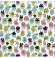 cactus linear stylized drawing seamless pattern vector image