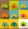 camping tent icons set flat style vector image vector image