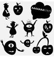 Cartoon funny monsters silhouettes vector image vector image