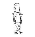 cartoon man disability walking on crutches vector image