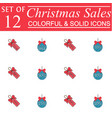 christmas sales and balls with ribbons color icons vector image