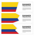 colombia flag banners collection independence day vector image vector image