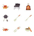 cooking equipment icons set cartoon style vector image vector image