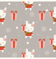 cute bunny christmas seamless pattern theme for vector image