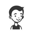 cute young man avatar cartoon monochrome userpic vector image vector image