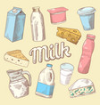 dairy products hand drawn doodle with milk vector image vector image