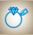 diamond sign with tag sky blue icon with vector image vector image