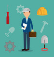 engineer with under construction icons vector image