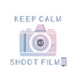 film photography logo with quote keep calm vector image vector image